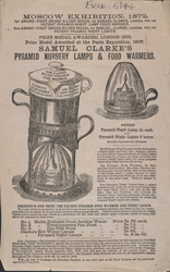 Advert for Samuel Clarke's lamps & food warmers
